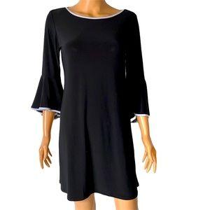 Roz & Ali white trim bell sleeve dress SZ M